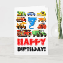 Kid's Big Trucks 7th Birthday Card