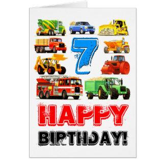 Kid's Big Trucks 7th Birthday Greeting Card