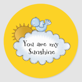 Kid's Bird Sun You Are My Sunshine Classic Round Sticker