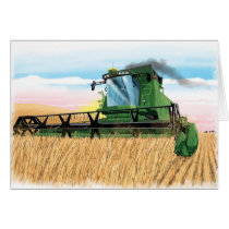 kids birthday card with combine harvester