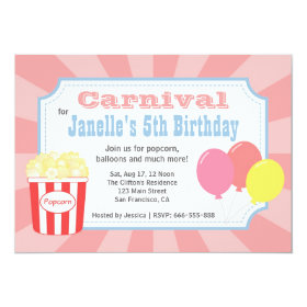 Kids Birthday - Carnival with Popcorn & Balloons 5x7 Paper Invitation Card