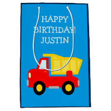 Kids Birthday construction dump truck toy gift bag