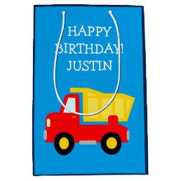 Kids Birthday construction dump truck toy gift bag