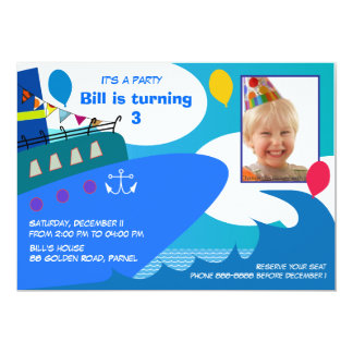 Kids Birthday Invitation 027: Cruise Ship