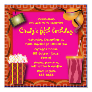 Kids Birthday Invitation 038: Popcorn & Soft drink