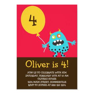 Kids Birthday Invitation - Blue Kooky Monster