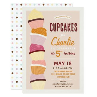Kids Birthday Invitation *Cupcake Party* Neutral