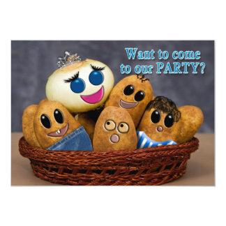 KIDS BIRTHDAY INVITATION - HUMOR POTATO FAMILY