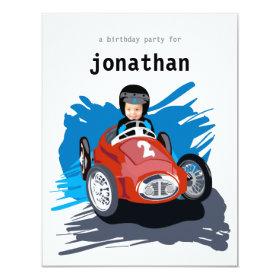 Kids Birthday Invitation - Race Car 4.25