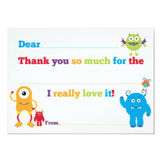 Kids Birthday Monster Fill in Thank You Cards