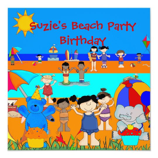 Kids Birthday Party  Beach Girls Boys Children Card