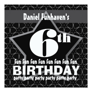 Kids Birthday Party Black and Silver STAR W201 Card