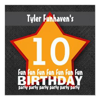 Kids Birthday Party Black Red Orange STAR W203 Card