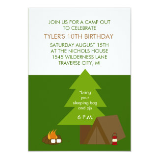 """Kids Birthday Party Camp Out Invitations 5"""" X 7"""" Invitation Card"""