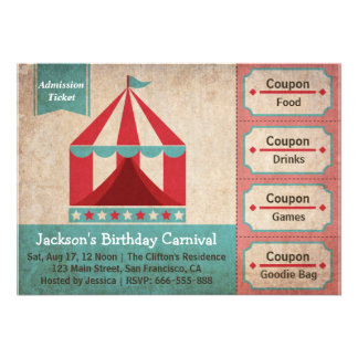 Kids Birthday Party - Carnival Admission Ticket Invites
