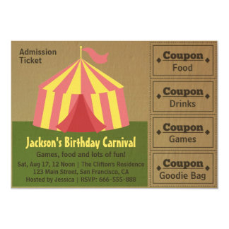 Kids Birthday Party: Carnival Admission Ticket 5x7 Paper Invitation Card