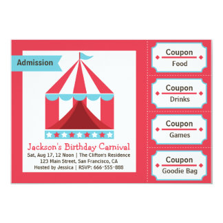 Kids Birthday Party - Carnival Admission Ticket 5x7 Paper Invitation Card