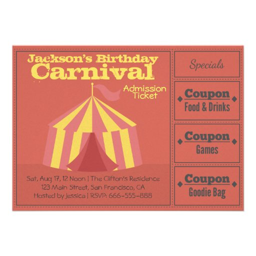 Kids Birthday Party: Carnival Admission Ticket Personalized Invites