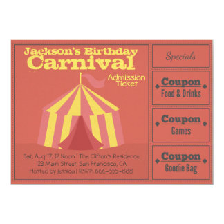 """Kids Birthday Party: Carnival Admission Ticket 5"""" X 7"""" Invitation Card"""