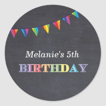 Kids birthday party chalkboard stickers favors