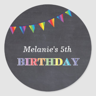 Kids birthday party chalkboard stickers favors