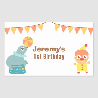 Kids Birthday Party - Circus Clown and Sea Lion Rectangular Sticker