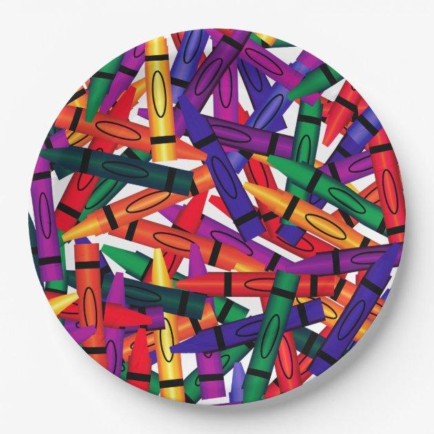 sc 1 st  Zazzle & Kids Birthday Party Crayon Design 9 Paper Plates | Zazzle.com