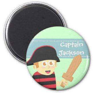 Kids Birthday Party: Cute Pirate Boy Theme 2 Inch Round Magnet