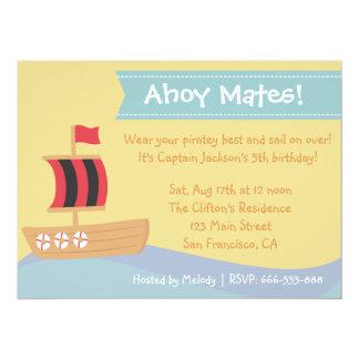 Kids Birthday Party: Cute Pirate Boy Theme 5.5x7.5 Paper Invitation Card