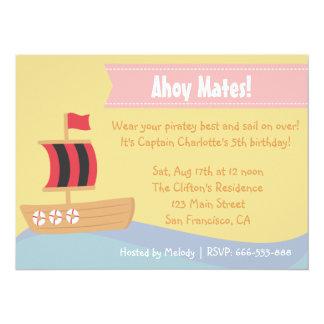 "Kids Birthday Party: Cute Pirate Girl Theme 5.5"" X 7.5"" Invitation Card"