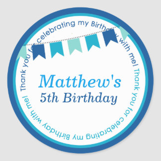 Kids birthday party DIY bunting stickers favors
