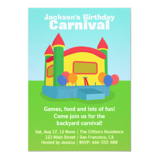 Kids Birthday Party - Happy Backyard Carnival Personalized Announcement