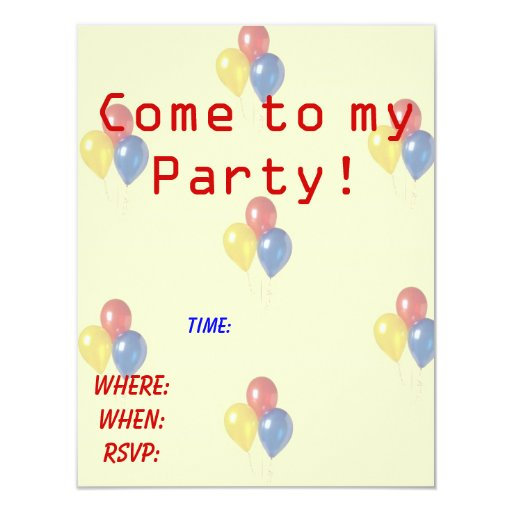"Kids Birthday Party Invitation 4.25"" X 5.5"" Invitation Card"