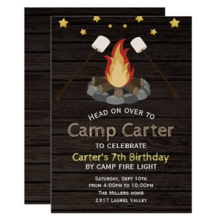 Kids Birthday Party Invitation -Bonfire Camping