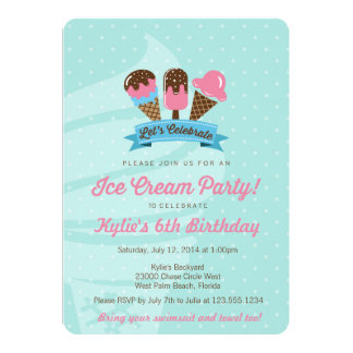 Kids Birthday Party Invitation, Ice Cream Party Card