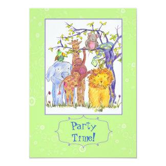 Kids Birthday Party Invitation Zoo Animals Art