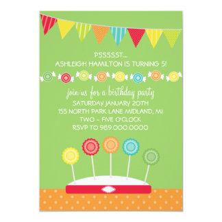 "Kids Birthday Party Invitations (Candy Theme) 5"" X 7"" Invitation Card"