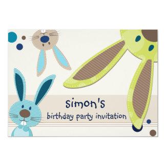 KIDS BIRTHDAY PARTY INVITE cute bunny's peeking