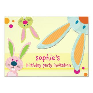"""KIDS BIRTHDAY PARTY INVITE cute bunny's peeking 5"""" X 7"""" Invitation Card"""