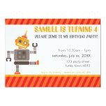 "KIDS BIRTHDAY PARTY INVITE cute dancing robot 5"" X 7"" Invitation Card"