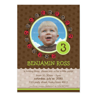 KIDS BIRTHDAY PARTY INVITE cute ladybird bug