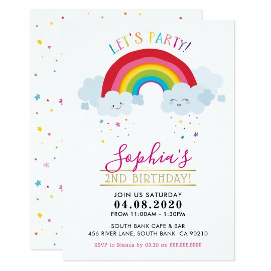 Kids Birthday Party Invite Kawaii Rainbow Clouds Zazzle Com