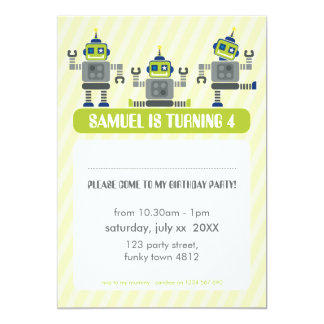 "KIDS BIRTHDAY PARTY INVITE modern robot trio 5"" X 7"" Invitation Card"