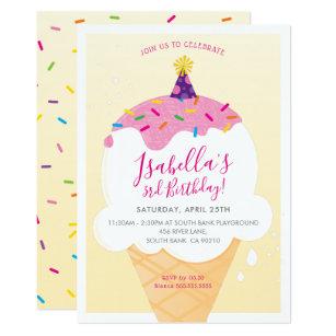 Ice cream birthday invitations zazzle kids birthday party invite retro ice cream cone filmwisefo