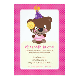KIDS BIRTHDAY PARTY INVITE teddybear lollipop