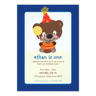 "KIDS BIRTHDAY PARTY INVITE teddybear lollipop 1P 5"" X 7"" Invitation Card"