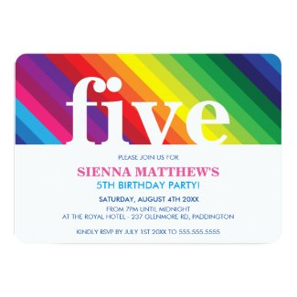 KIDS BIRTHDAY PARTY modern colorful bold rainbow Invitation