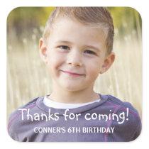 Kids Birthday Party Photo Favor Square Sticker
