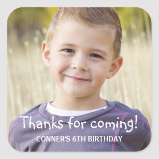 Kids Birthday Party Photo Favor Square Sticker