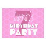 Kids Birthday Party Pink Star Flowrs S561 Card